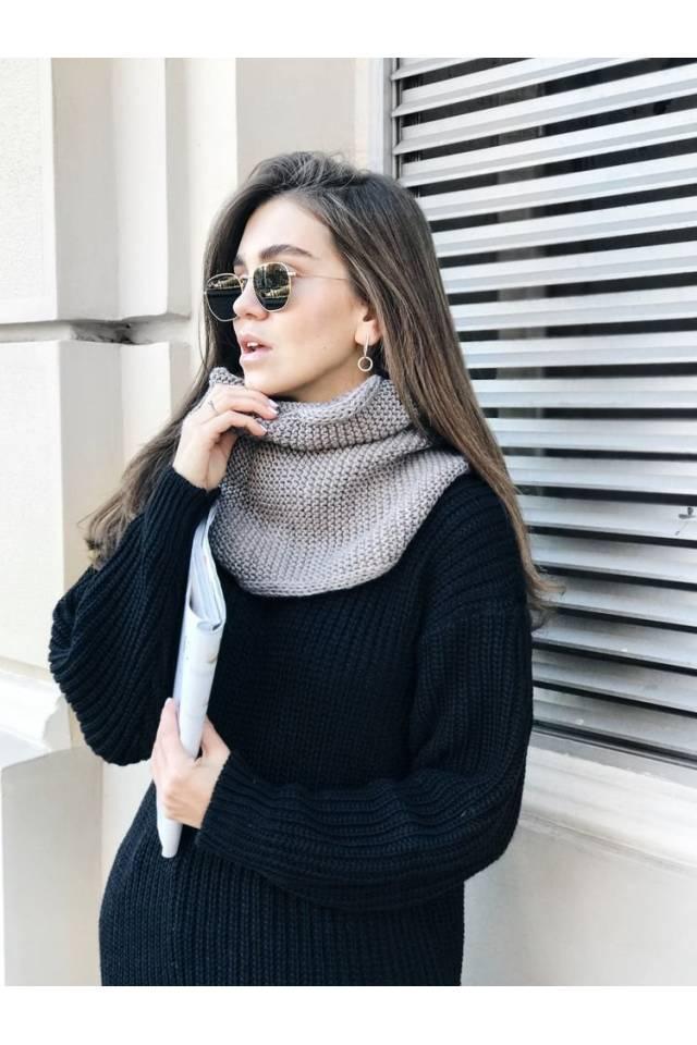 шарф хомут женский вязаный светло коричневый Black Limit купить в